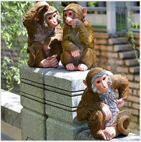 Outdoor Resin Simulation Monkey Animal Statue Gardening Landscape Design Figurines Crafts Decoration Yard Tree Hanging Ornaments