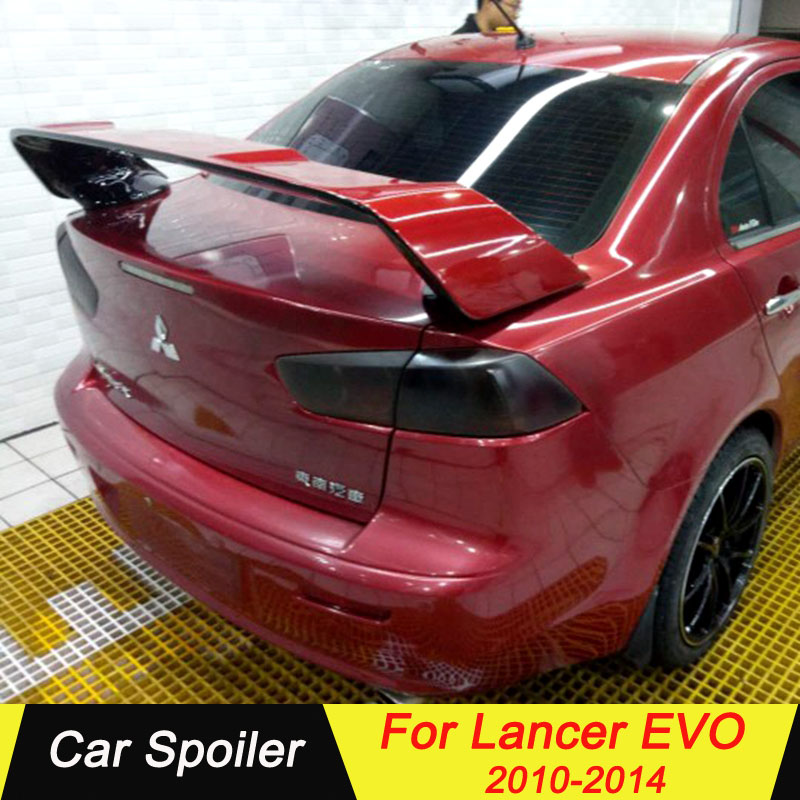 For Mitsubishi LANCER EVO 2010 2014 ABS Spoiler Primer Color Car Tail Wing Decoration Rear Trunk