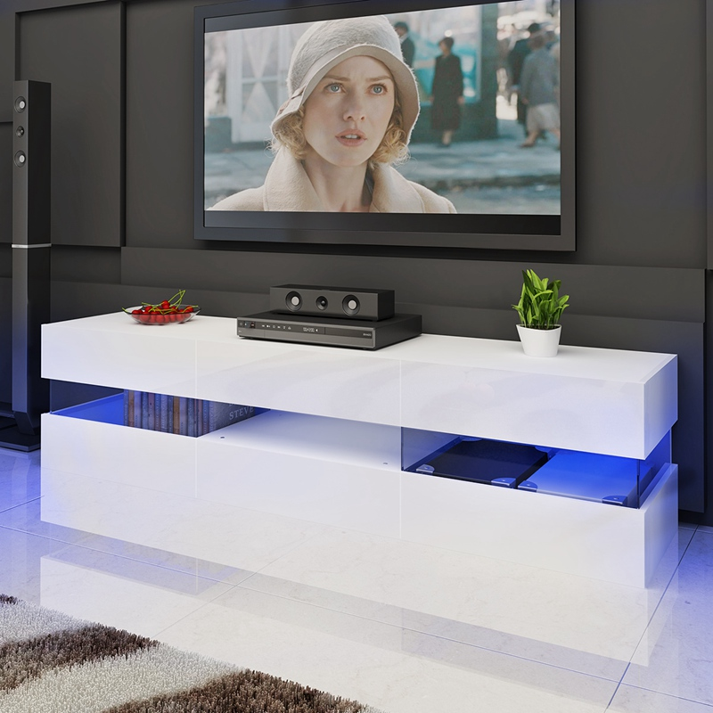 Modern Furniture High Gloss TV Stand Cabinet with LED Dropshipping gloss high led tv stand modern led living room furniture tv cabinet