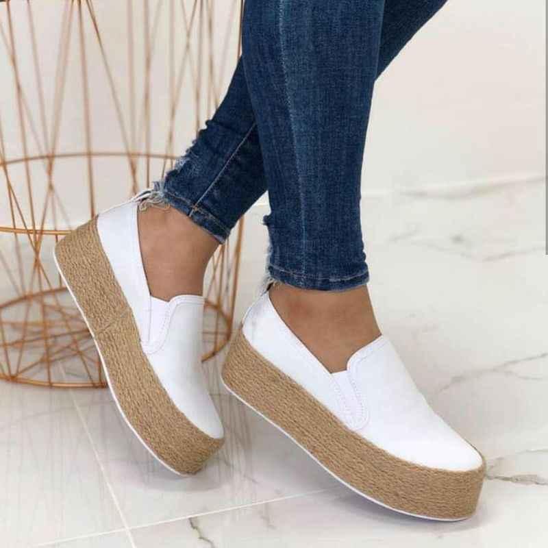 Giày Sneakers Nữ Spring Da Đáy Dày Phối Ren Đế Phẳng Mũi Tròn Nông Nền Tảng Thường Ngày Mujer 2019