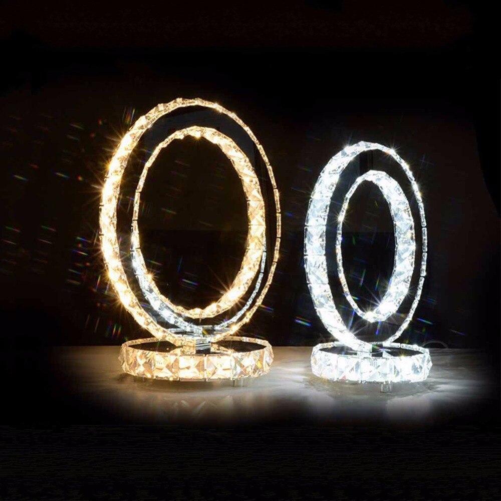 Lampe de Table En Cristal Lampes de Cercle Moderne de Bureau Led Lampara Éclairage De Chevet Escritorio Bureau Lampe Ronde Décoration Lumière Lampen