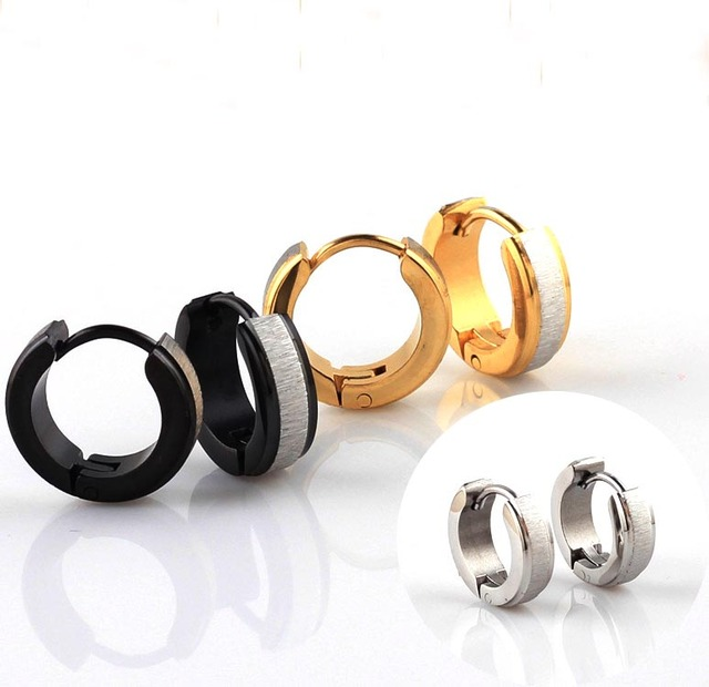 frosted gold hoop earring earrings studs loop women girl vintage