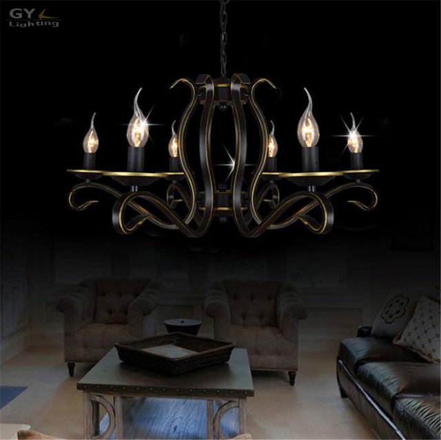 Ac110 220v European Candle Chandelier Re American Country Home Living Room Chandeliers Light Wrought Iron Metal Hanging Lamp