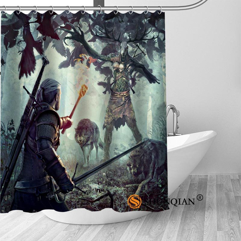 The Witcher Bath Curtain 100% polyester Fabric Shower Curtain bathroom beautiful Bath decor Print your picture