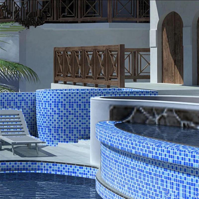 swimming pool glass mosaic tiles balcony shower room blue fish pond crystal mosaic tiles popular glass mosaic