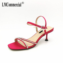 High-heeled Sandals Fishmouth Silk Satin Water Diamond Special-shaped heel with Silver Fashion Womens Shoes sandals summer