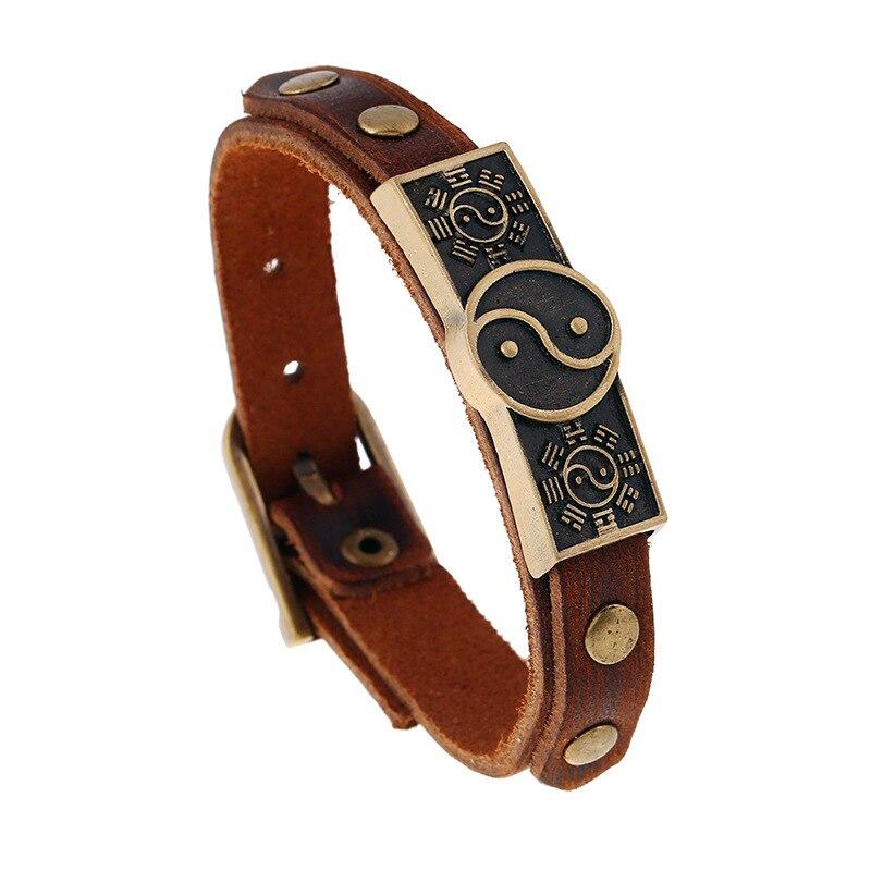Taiji Yin Yang Bracelet Real Cow Leather Cuff Wrap Bangles Men's Belt Buckle Bracelet Hand Jewelry Couple Distance Bracelet Male