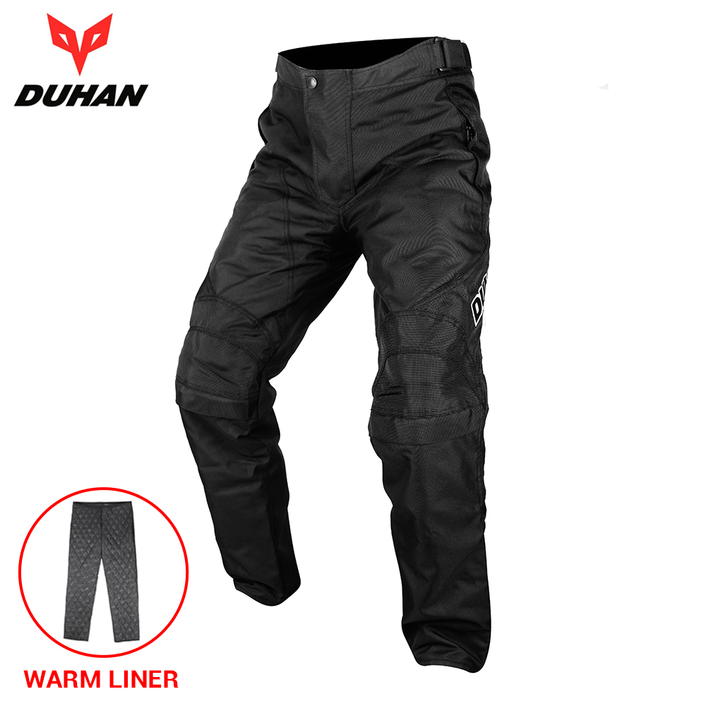 DUHAN Motorcycle Pants Cold-proof Windproof Motorbike Riding Pants Armor Men Motocross Pants Moto Winter Cotton Liner Trousers duhan motorcycle jacket motocross jacket moto men windproof cold proof clothing motorbike protective gear for winter autumn