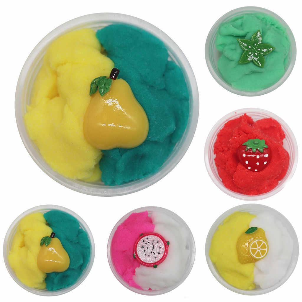 60 ミリリットル Diy 明確なスライムのおもちゃ美しい果物ふわふわ Floam スライムクラウドスライムパテ香りストレス子供粘土のおもちゃドロップシッピング