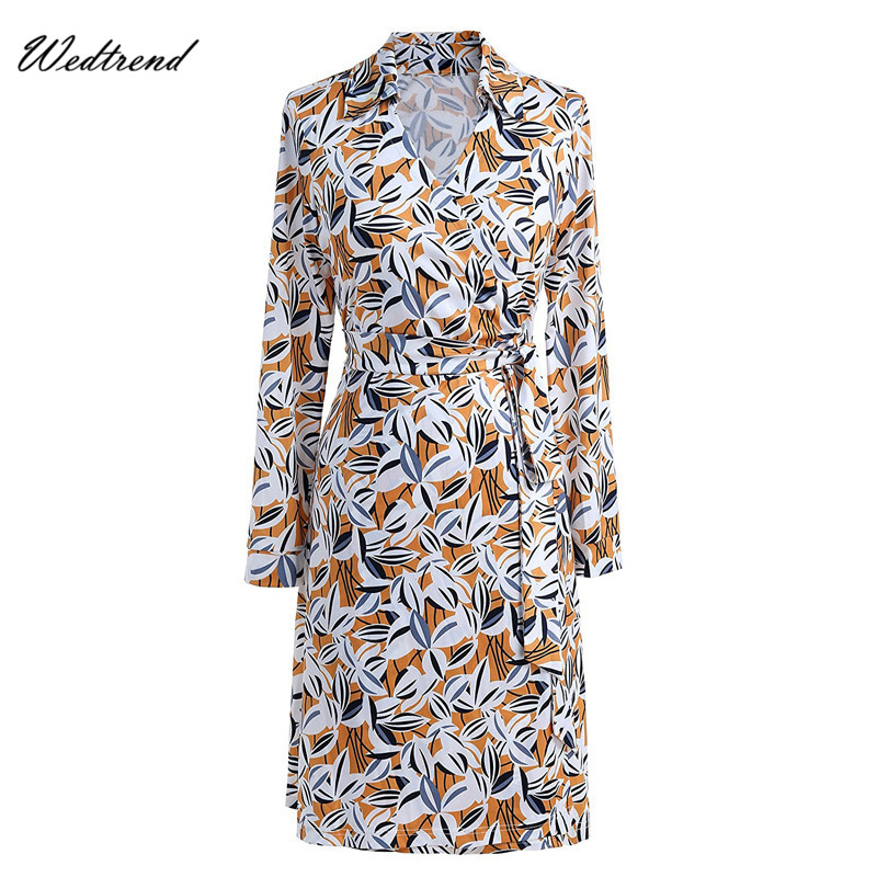 Wedtrend Women's V-Neck 3/4 Sleeve Geometry Print Wrap Dress Print Floral Mid-Length Lady Dresses Wholesale Price Lady's Dresses