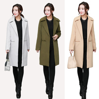 VogorSean Autumn Winters Women Wool Coat Blends 2018High Quality Longer Korean Ladies Woolen Coat Jackets Khaki/Army Green/Gray