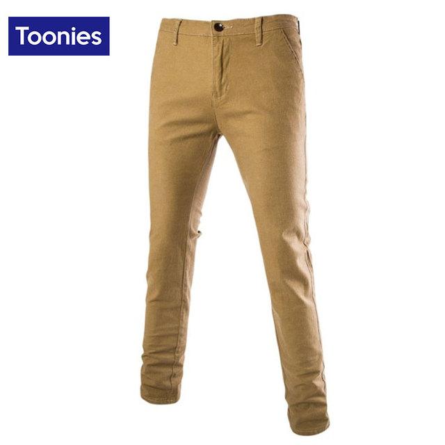 De los hombres Pantalones Casuales de Color Caqui Recto Largo Grueso de Algodón Pantalones Slim Fit los hombres Pantalón Largo Con El Tamaño Grande Para Hombre 28-36 de La Nueva Manera
