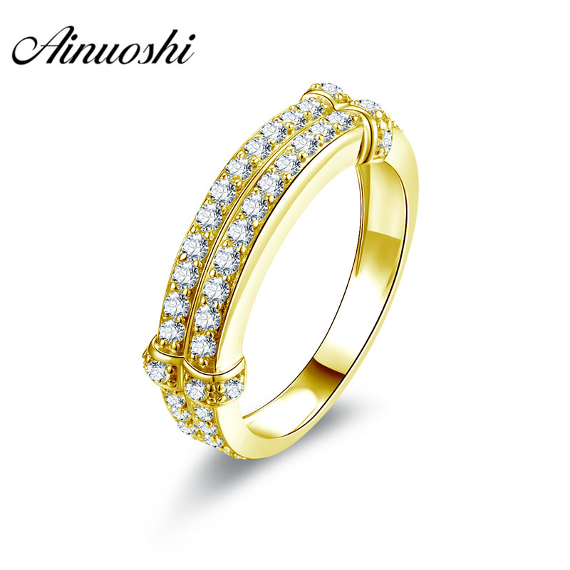 AINUOSHI Luxury Men Band 10K Solid Yellow Gold Male Ring Double Rows Cluster Ring Wedding Engagement Gold Jewelry 3.9g Men RingAINUOSHI Luxury Men Band 10K Solid Yellow Gold Male Ring Double Rows Cluster Ring Wedding Engagement Gold Jewelry 3.9g Men Ring