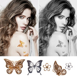 sex products necklace bracelets tatoo metal temporary tattoo women flash metalic fake gold silver butterfly tattoos VH0003