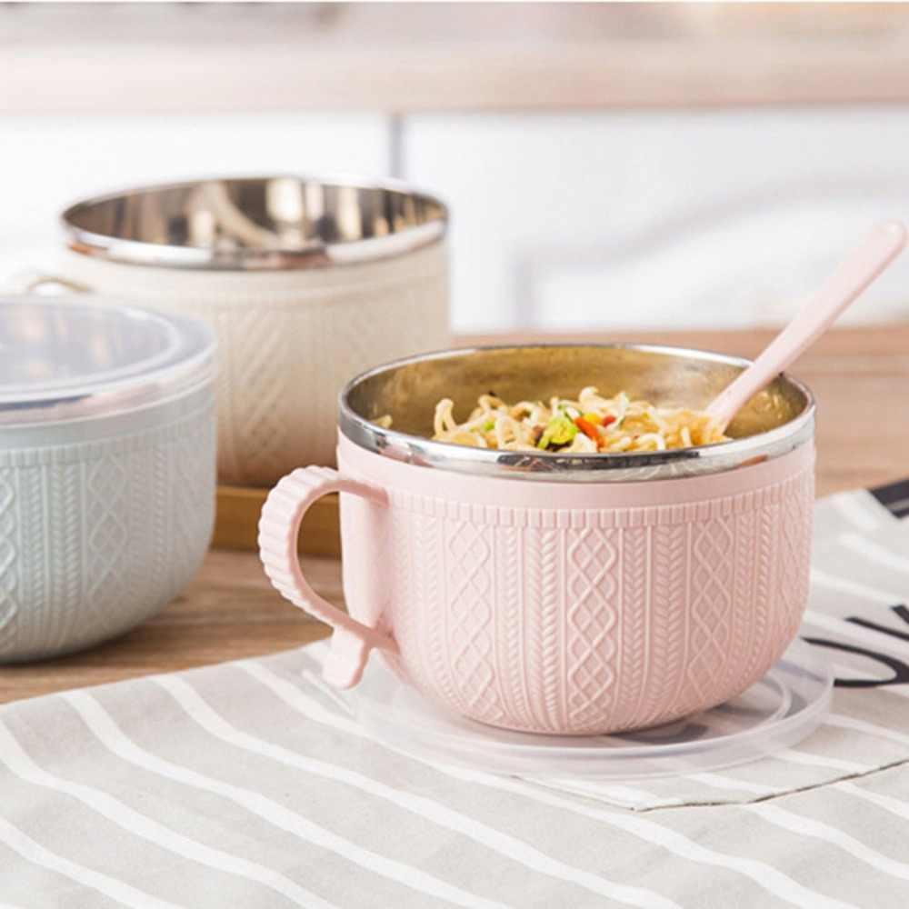 Grote Roestvrijstalen Noodle Kom Met Handvat Voedsel Container Rijstkom Soep Kommen Instant Noodle Kom Met Deksel Lepel