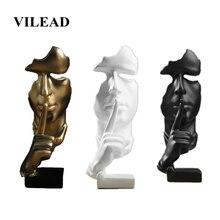 VILEAD Figurines en résine, personnages dorés, 28.5cm, le Silence, Statue créative, accessoires de décoration pour le salon, le bureau, lartisanat