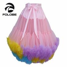FOLOBE Mixed Colors Tulle Skirt Vintage Tutu Skirts Womens Party Prom Underskirt Ballet Skirt faldas de tull Mujer Saias Jupe