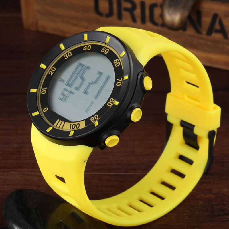 OHSEN LED Digital LED Outdoor Sports Watches Men Women Stopwatch 50M Diving Yellow Fashion Silicone Bracelet Watch Reloj Hombre