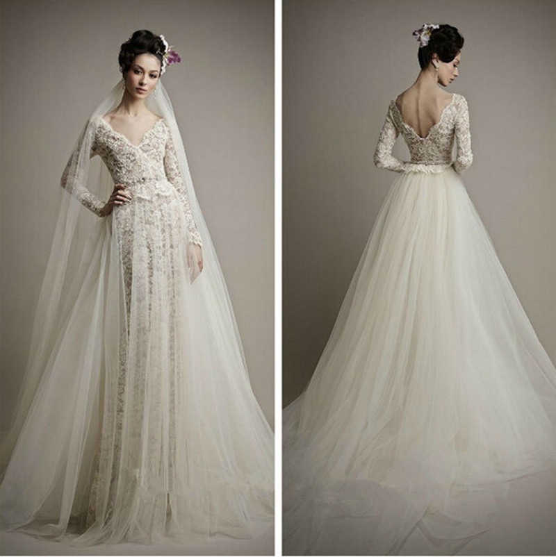 Sexy Open Back 2018 Elegant Long Sleeves Lace applique Champagne A-Line vestido de noiva Bridal Gown mother of the bride dresses