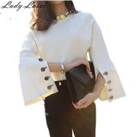 Runway Blouses Shirts Tops New 2017 Autumn Women Split Sleeve Loose Suede Blouse Sexy Ladies White