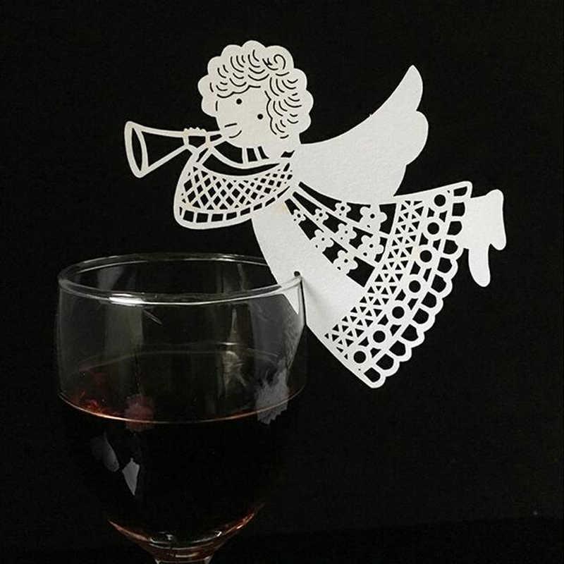 50 قطعة/الوحدة الأبيض فراشة القلب الليزر قطع الجدول علامة النبيذ الزجاج اسم مكان بطاقات الزفاف عيد استحمام الطفل عيد الميلاد لوازم