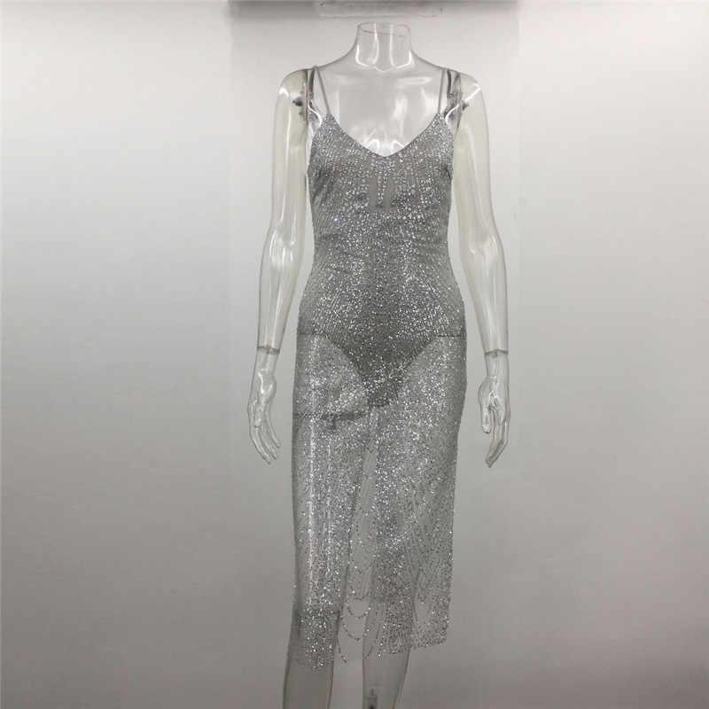 b350015e07881 Sexy Sheer Glitter Silver Gold Sequin Party Dresses Women V Neck Side Split  Spaghetti Strap See Through Mesh Bodycon Dress Club