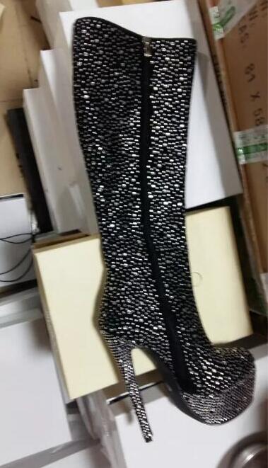 Weiblichen Frauen Reißverschluss Stiletto Kniehohe Kristall Abdeckung Damen Spitzen High Kappe Plattform Sexy As Super Heel Seite Stiefel Hohe Picture S15qZwxC