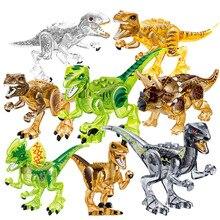 8Pcs/set Jurassic Series Transparent Crystal Dinosaurs Action Figures Buidling Blocks Bricks Kids Toys Gifts