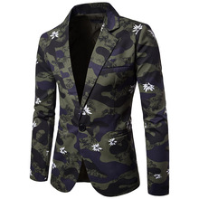 Men Clothes 2018 England Style Camoflage flower Print Blazer Americana Hombre Blazers Men Suits Silm Fit Casual Blazer Homme