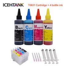 ICEHTANK 4 X 100ml Bottle Refill Dye ink Kit T0631 Ink Cartridge For Epson Stylus C87