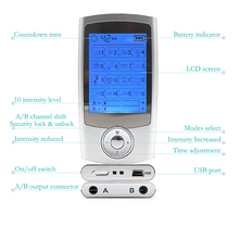 16 Modes+4 Pad 2in1 LCD Screen Dual Output Electric TENS Unit Physiotherapy Body Massager Mini Pain Relief EMS Muscle Stimulator недорого