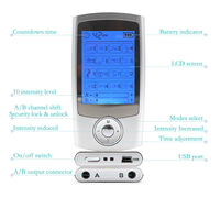 16 Modes+4 Pad 2in1 LCD Screen Dual Output Electric TENS Unit Physiotherapy Body Massager Mini Pain Relief EMS Muscle Stimulator