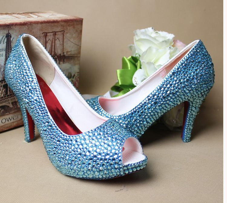 Sexy Peep Toe Fashion Woman Blue Rhinestone Wedding font b Shoes b font High heeled Bridal