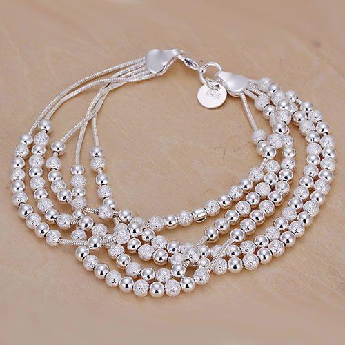 H250 925 besplatne dostave srebro narukvica, 925 free shipping srebrni modni nakit pet linija kuglice narukvica / bafajrma awtajoaa