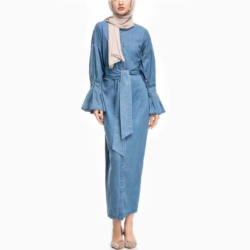 Джинсовое мусульманское платье abaya кимоно Дубайский хиджаб платье Абая для женщин халат Восточный халат из марокена Катара Elbise турецкая исламская одежда