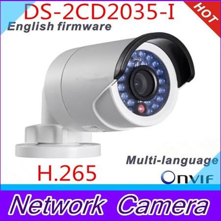 Latest original fast free shipping Multi language DS 2CD2035 I bullet Camera CCTV camera IP camera