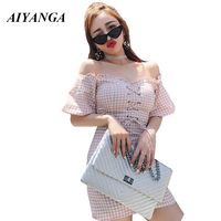 AIYANGA Sexy Lace Up Slash Neck Plaid Dresses Women 2018 Puff Sleeve Party Club Ruffles Trim Backless Femme Summer Dress
