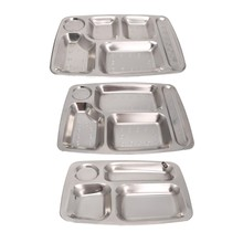Roestvrij Staal Student lade Verdeeld Dinner Tray Lunch Container Voedsel Plaat 4/5/6 Sectie(China)
