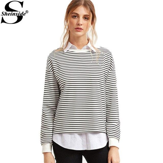 Sheinside Woman's Fashion Fall 2016 Brand Sweatshirt Woman Black And White Stripe Drop Shoulder Long Sleeve Sweatshirt