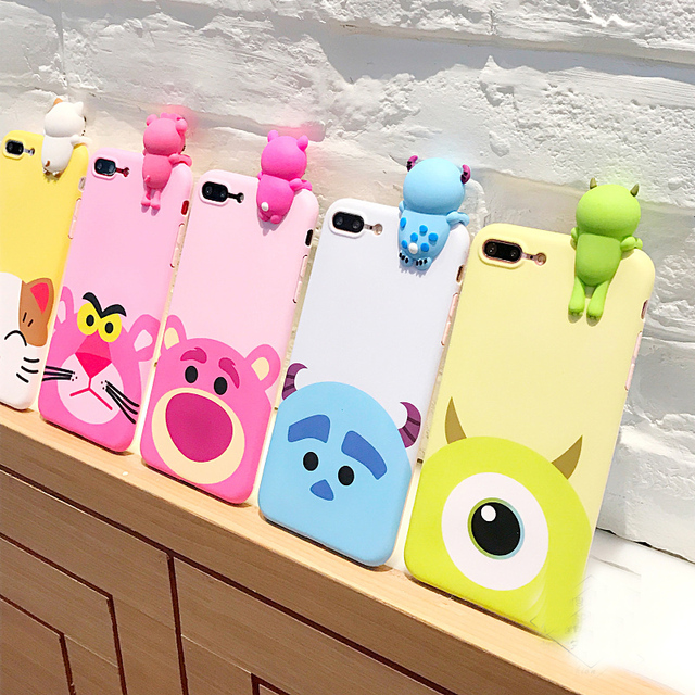 the latest 9bd24 a8736 US $6.99 |For iPhone 7 7 Plus Cute 3D Cartoon phone Cases For iphone X 8  8plus 6 6s 6plus monsters tiger toys soft silicon case back cover-in Fitted  ...