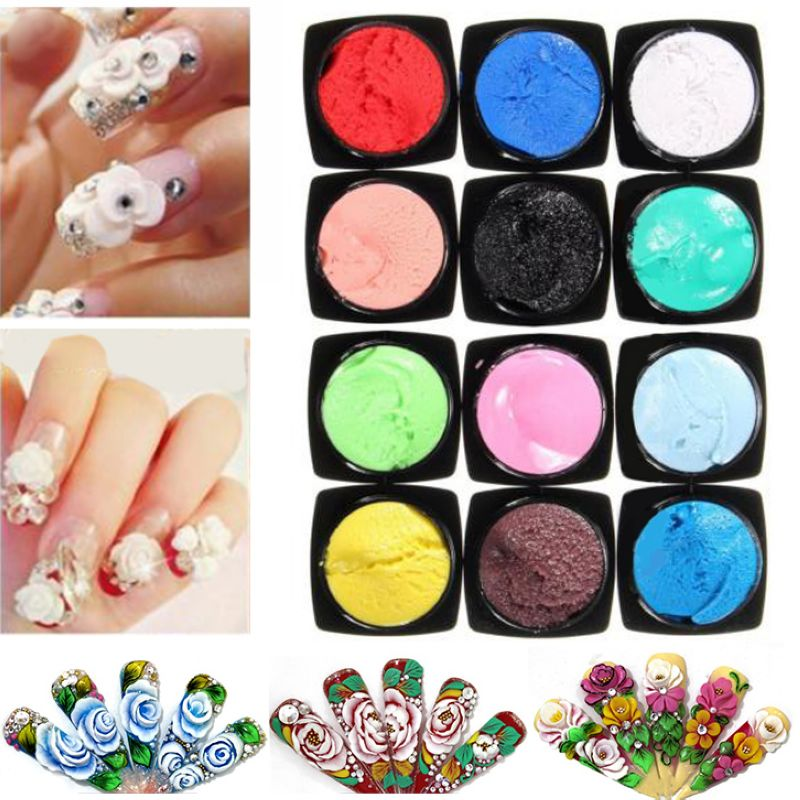 Shellhard 12 Colors/Set Nail Gel 3D Sculpture UV Gel Carved Nail Art Tip Manicure Decoration 0 8mm 20000pcs colorful mini nail art beads gardient rhinestones 3d tip decoration for nail uv gel manicure nail art decorations