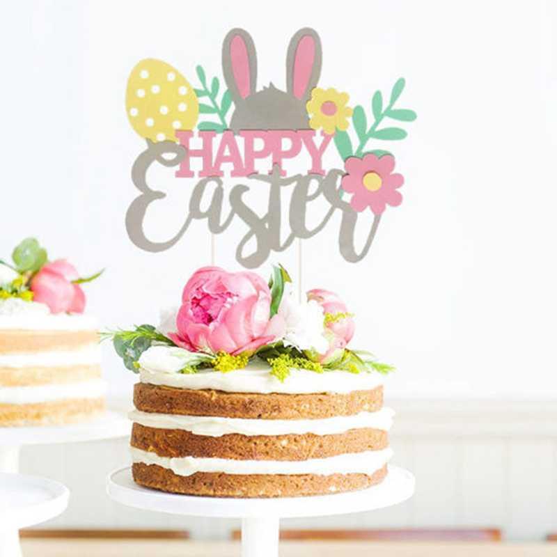 กระดาษ Felt เค้ก Cupcake Topper พรรคอีสเตอร์ตกแต่งกระต่ายหู Magic หมวกกระต่ายของหวานตารางธง