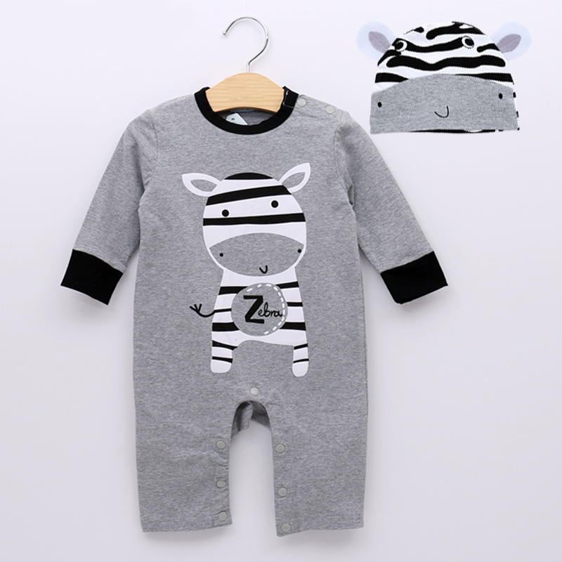 2018 Baby Boy Clothing Sports Casual Style Cartoon Design Baby Boy Romper Long Sleeve + Hat Baby Clothing zofz baby girls clothing newborn baby boy girl clothes long sleeve cartoon printed jumpsuit baby romper for baby boy clothing