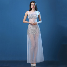 2017 perspective Sexy Halter long tail bag hip V collar Club see-through dress evening dress dress dress.
