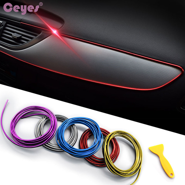 Ceyes 5M Car Seal Accessories Styling Interior Exterior Decoration Door Strip Moulding Trim Dashboard Edge Universal Auto Chrome
