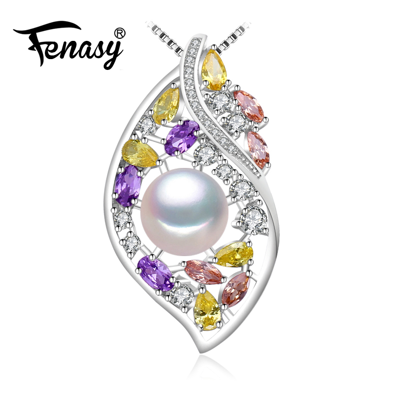 FENASY 925 sterling silver flower necklace,Fine jewelry statement necklace,Pearl pendant Yellow gem ,Purple gem Bohemia necklace