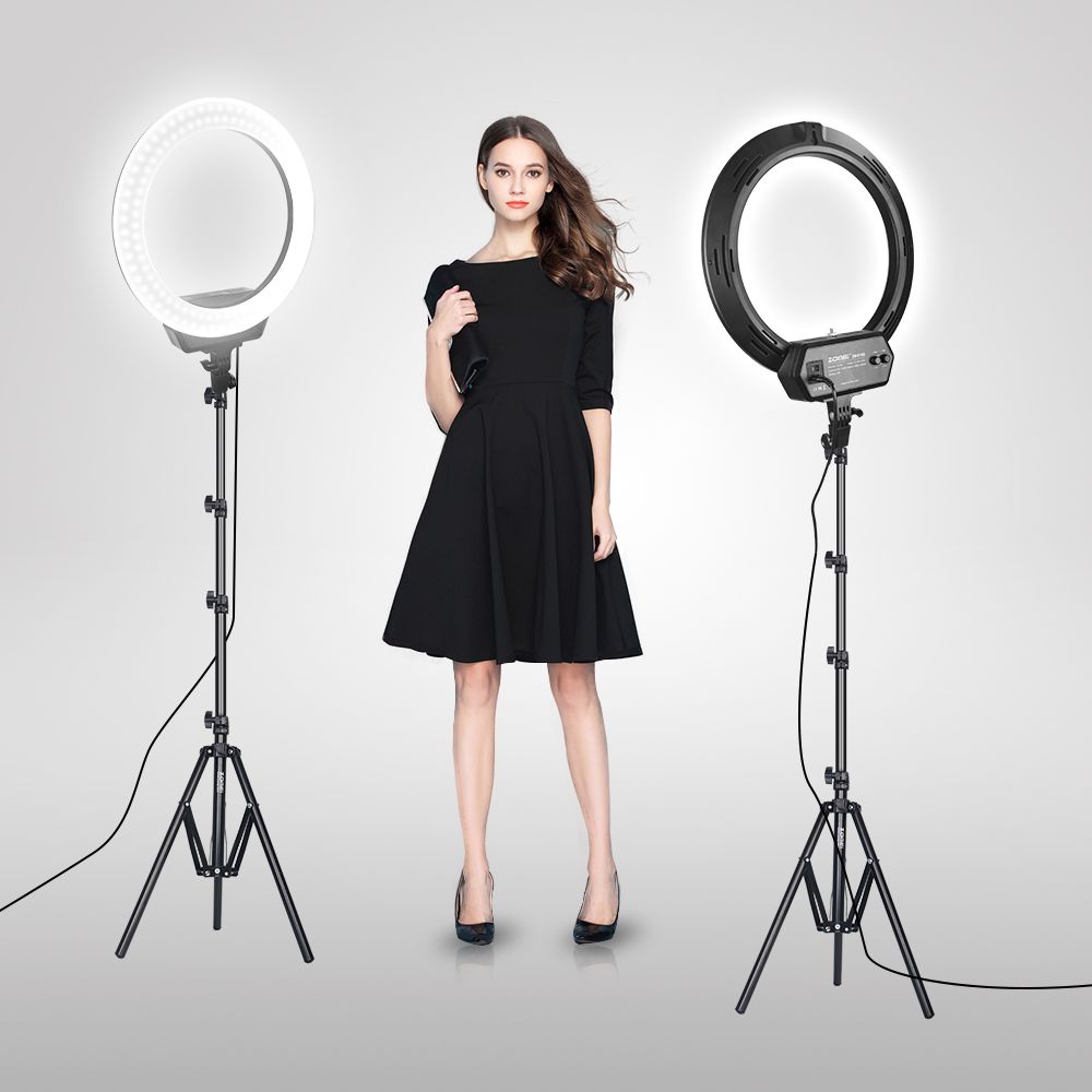 Zomei ZM-16C Dimmable Photography Photo Studio Phone Video <font><b>16</b></font> inch LED <font><b>Ring</b></font> <font><b>Light</b></font> Tripod Stand <font><b>Ring</b></font> Lamp Camera with EU Plug image