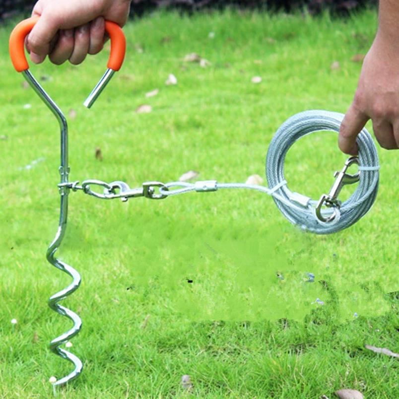 Heavy Duty Pet Dog Leash Spiral Tie Metal Screw Stake Corkscrew Safe For Outdoor Camping Garden Ground Cable Lead Wire