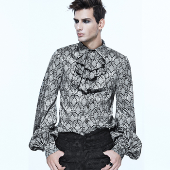 Steampunk Men Long Sleeve Printed Tie Shirts Punk Chiffon Shirt Blouse Party Cotton Noble Fancy Blouse Tops grey self tie design bell sleeves chiffon blouse