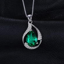 JewelryPalace Pear 2.7ct Created Emerald Pendant 925 Sterling Silver Wholesale Fashion Pendant No Chain